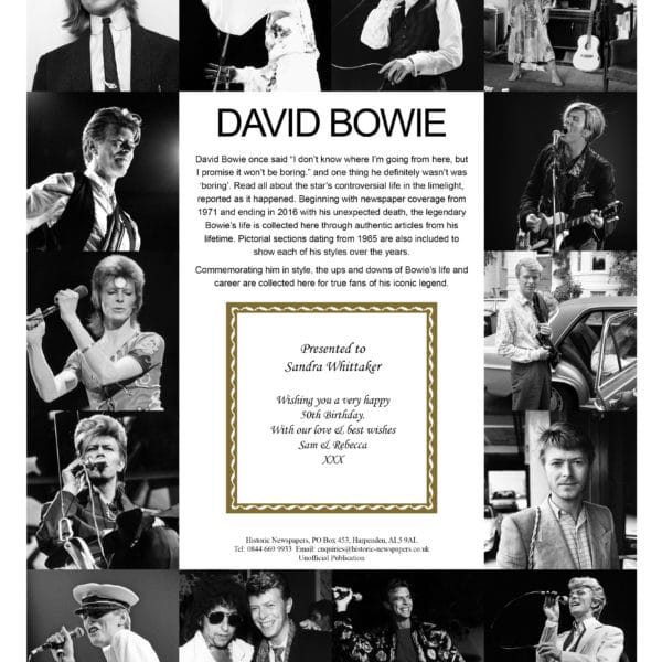 David Bowie Memorial Newspaper Book