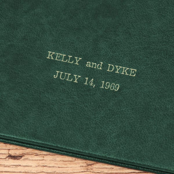 Example Embossing on green Leatherette book