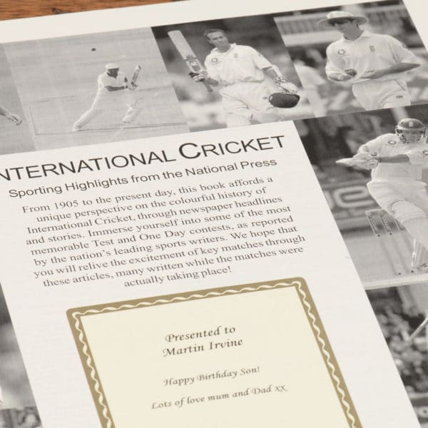 English Cricket Newspaper Book