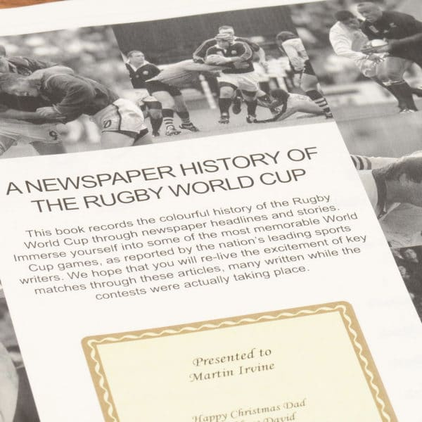 British Rugby World Cup Newspaper Book