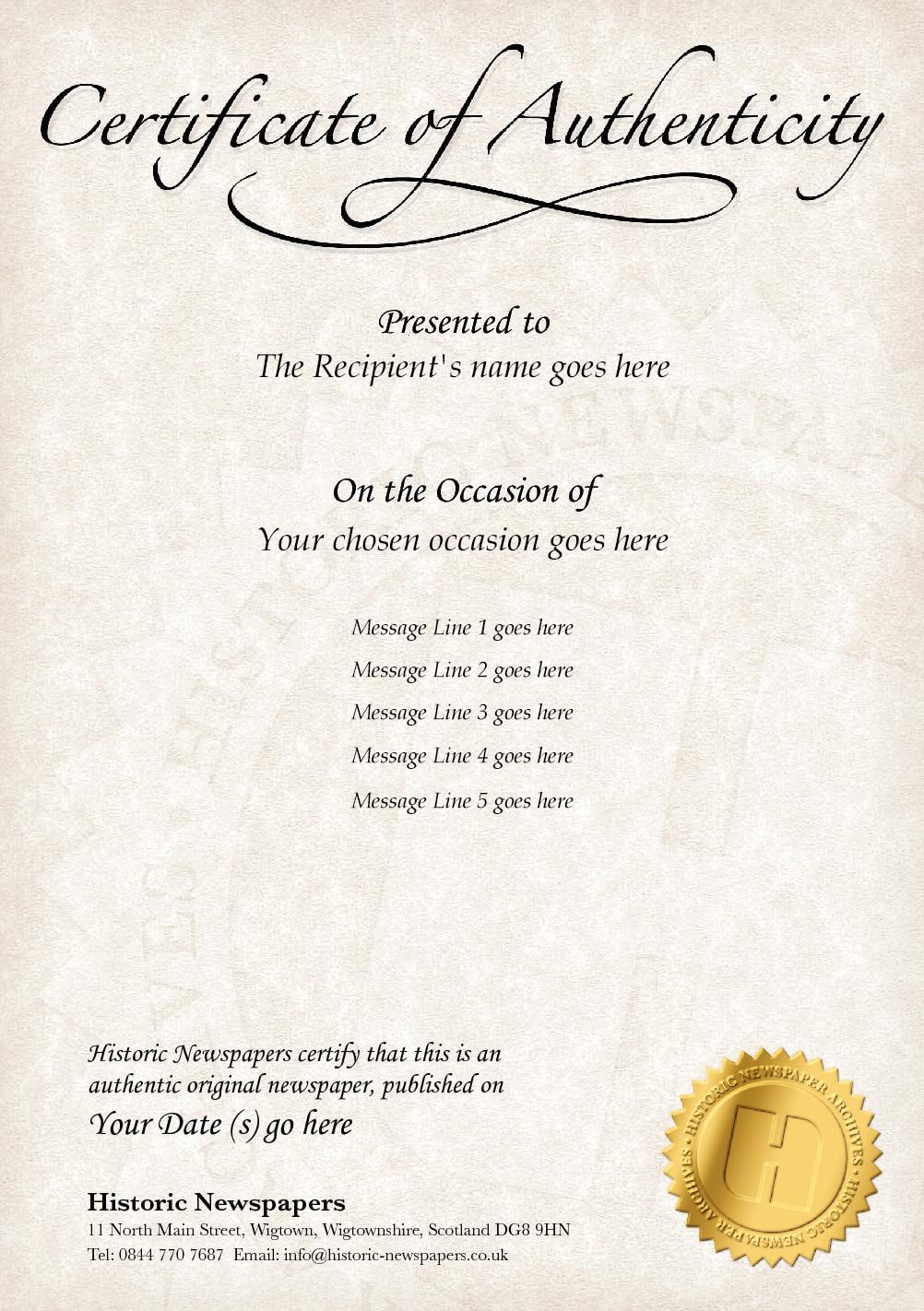 Authenticity Cert