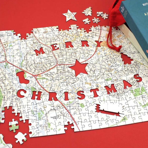 Personalised Map Christmas Jigsaw Puzzle