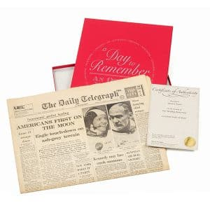 Newspaper with Red Gift Box