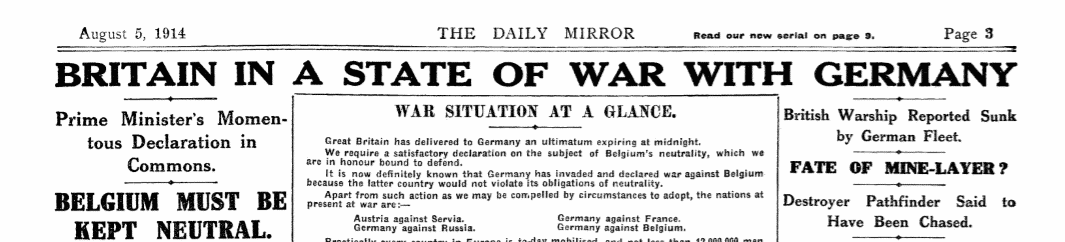 britain at war with germany headline
