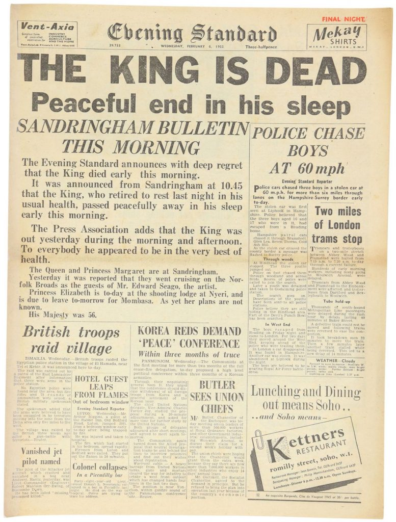 king george vi death newspaper